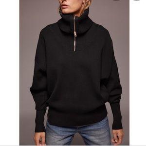 NWT Zara SOFT Oversized Black Half Zip Pullover Batwing Turtleneck Sweater SZ M